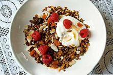 The Coconut, Almond and Cherry Granola is served with yogurt. Photo courtesy Pamela Timms