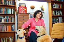 Karthika V.K. at her New Delhi residence with her dogs, Sundari (left) and Crush. Photo: Pradeep Gaur/Mint