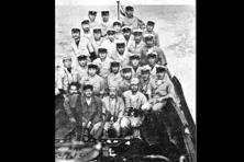 The crew aboard Japanese sub I-29 pose with their guest Bose (first row, second from left) and Hasan (to Bose's right). Photographs courtesy 'The Men From Imphal'/Netaji Research Bureau