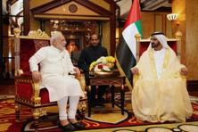 In this photo made available by the Emirates News Agency, WAM, Prime Minister Narendra Modi, left, meets with Sheikh Mohammed Bin Rashid Al Maktoum, Dubai ruler and UAE Prime Minister, in Dubai. Photo: AP