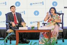 RBI governor Raghuram Rajan and SBI chairperson Arundhati Bhattacharya at SBI's banking and economic conference on Thursday. Photo: Reuters