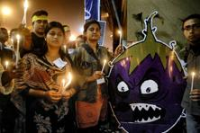 Members of 'Coalition for a GM Free India' take part in a candle light vigil to protest against Bt brinjal. Photo: PTI