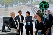 A file photo of Prime Minister Narendra Modi (left) with Google CEO Sundar Pichai visiting the Google campus in Silicon Valley, California, on Sunday. Photo: PTI