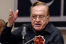 A file photo of former foreign minister of Pakistan Khurshid Mahmud Kasuri speaking at the release of his book in Mumbai. Photo: PTI
