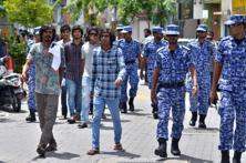 In this file photo, Maldives police patrol the streets of the capital Male. Photo: AFP