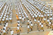 An RSS parade on Dussehra in Bhopal. Photo: Praveen Bajpai/Hindustan Times