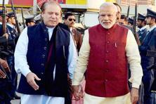 Prime Minister Narendra Modi with his Pakistani counterpart Nawaz Sharif upon his arrival in Lahore on Friday. Photo: PTI