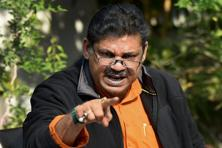 Suspended BJP leader Kirti Azad while talking to media at his residence in New Delhi on Wednesday. Photo: PTI