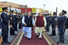 Narendra Modi walks with Nawaz Sharif in Lahore on 25 December. Sharif has directed Pakistan's national security adviser Nasser Khan Janjua to remain in contact with his Indian counterpart Ajit Doval in a bid to keep the renewed dialogue on track after the attack on the Pathankot airbase, the newspaper report said. Photo: PIB