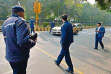 The traffic police checking for violations near Kasturba Gandhi Marg on 4 January. Pradeep Gaur/Mint