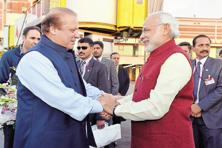 A file photo of Prime Minister Narendra Modi (right) and his Pakistani counterpart Nawaz Sharif in Lahore. Photo: PTI