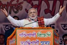 Prime Minister Narendra Modi addressing the BJP Youth Rally in Guwahati on Tuesday. Photo: PTI