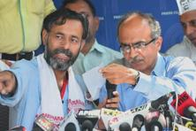 A file photo of expelled AAP leaders Yogendra Yadav (left) and Prashant Bhushan. Photo: PTI