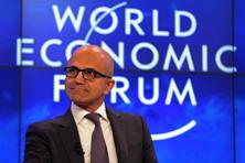 Satya Nadella, chief executive officer, Microsoft Corp., attending a panel session at the World Economic Forum in Davos on 20 January 2016. Photo: Bloomberg