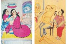 Two works by Kalighat painter Kalam Patua.