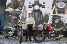 Triumph unveiled its updated range of Bonneville motorcycles at Auto Expo 2016 on Thursday. Photo: PTI