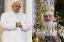A file photo combination of Pope Francis and Russian Orthodox Patriarch Kirill. Kirill and Francis could work together against the persecution of Christians in the Middle East. Photo: AP