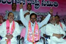 Chief Minister of Telangana K. Chandrasekhar Rao addressing the media on TRS party's win in GHMC elections in Hyderabad on Friday. Photo: AP/PTI