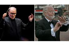 Two of the greatest film composers alive, John Williams (right) and Ennio Morricone.