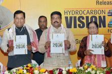 Oil minister Dharmendra Pradhan (centre) the Hydrocarbon Vision Document 2030 for North-east India in Guwahati on Tuesday. Photo: PTI