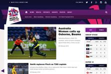 A screen grab of ICC World T20 website.