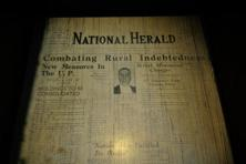 A file photo of the fist edition of the National Herald newspaper published on 1 November 1938, archived by the Teen Murti Library. Photo: Mint