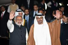 Prime Minister Narendra Modi and Crown Prince of Abu Dhabi Sheikh Mohammed Bin Zayed Al Nahyan (R) at an air force base in New Delhi on Wednesday. Photo: AFP