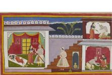An illustration from the Ramayan, commissioned by Maharana Jagat Singh of Mewar, Rajasthan, in the 17th century, depicts Kaikeyi demanding that Dasharatha send Rama into exile. Photo: © The British Library Board, Add. 15296(1), f.24r