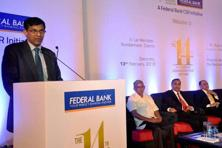 RBI governor Raghuram Rajan delivers the Federal Bank KP Hormis commemorative lecture in Kochi on Saturday. Photo: PTI