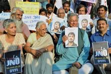 Playwright Girish Karnad and others hold posters of JNU student leader Kanhaiya Kumar at a protest meet in Bengaluru. Putting a face to a movement helps it come alive for the people, it helps capture the imagination. Photo: AP/PTI