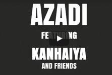 A screen grab of the introduction to the Azadi rap song video by Dub Sharma that incorporates parts of Kanhaiya Kumar's speech