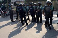 A file photo of a group of Bangladeshi police personnel. Police said a large quantity of gel explosives and other bomb-making materials were seized from the spot of the arrest. Photo: AFP