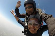 Rajkumar Balakrishnan, the person the author (left) was strapped to during the tandem skydive, with over 5,100 jumps, is a Limca Book world record holder. Photo: Rajkumar Balakrishnan