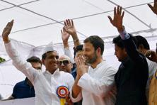 Congress vice-president Rahul Gandhi at a protest rally organized by All India Bullion Jewellers and Swarnkar Federation at Jantar Mantar on Wednesday. Photo: PTI