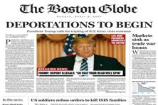A photo shows a portion of a satirical front page of The Boston Globe published on the newspaper's website, expressing its uneasiness with a potential Donald Trump presidency. Photo: AP