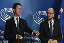 French Prime Minister Manuel Valls and European Parliament president Martin Schulz hold a press conference at the European Parliament in Strasbourg, eastern France. Photo: AFP