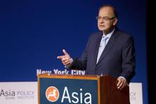 Finance minister Arun Jaitley speaks at the Asia Society on 18 April in New York. Photo: AP