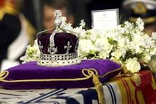 A file photo of the Koh-i-noor, or 'mountain of light,' diamond, set in the Maltese Cross at the front of the crown. Photo: AP