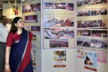 Union minister Maneka Gandhi at an event to launch 'Beti Bachao Beti Padhao' campaign in 61 additional districts in New Delhi on Tuesday. Photo: PTI