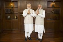 Narendra Modi's wax statue is dressed in his trademark cream-coloured chooridar kurta and sleeveless jacket, and strikes a namaste pose. Photo: Madame Tussauds