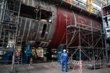A file photo shows nuclear submarine SNA Barracuda under construction. DCNS will build the fleet in Adelaide and the project should create about 2,800 jobs. Photo: AFP