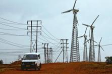 A file photo of wind turbines at the Suzlon Energy Ltd. wind farm in Satara. Photo: Bloomberg