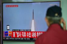 A man watches a TV news showing file footage of a North Korean missile launch in Seoul on Thursday. North Korea on Thursday tried and failed in its second attempt to test a powerful ballistic missile, says South Korea. Photo: AFP