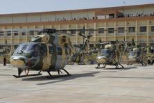 A file photo of Dhruv helicopters during its flight at HAL base in Bengaluru. Photo: Mint