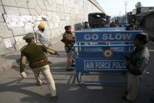 A file photo of security personnel outside the Indian Air Force base at Pathankot on 3 January. Photo: Reuters