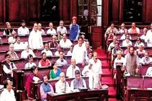 BJP members in the Rajya Sabha on Wednesday. Opposition MPs demanded to know the steps the government had taken to expedite the AgustaWestland probe. Photo: PTI