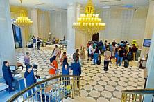 The lobby of The Ashok. Photographs: Pradeep Gaur/Mint