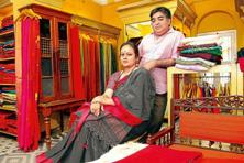 Rumi and Bappaditya Biswas at the Kolkata ByLoom store. Photographs: Indranil Bhoumik/Mint.