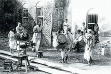 Ray and his crew on the sets of 'Pather Panchali'