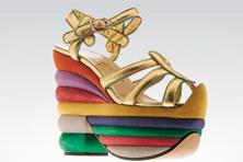 The Rainbow Wedge shoe was created in 1938 by Ferragamo for Hollywood actress Judy Garland who played Dorothy in 'Wizard of Oz'.